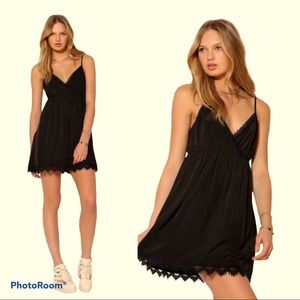 COPE Black Mini Slip Babydoll Dress with Lace